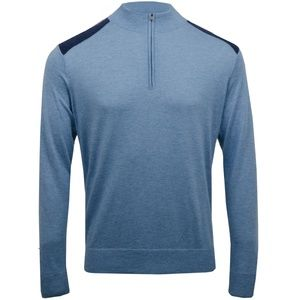 Dunhill Ladbroke Silk Blend Quarter Zip Blue XL